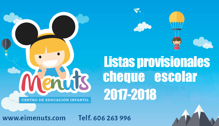 Listados provisionales cheque escolar 2017/2018 | Menuts