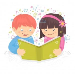 nino-y-nina-de-los-ninos-leyendo-el-libro-en-la-ilustracion-del-vector-del-cartel-de-la-tabla_1284-2999